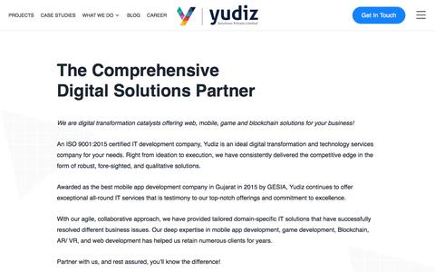 Screenshot of About Page yudiz.com - About Us | Yudiz Solutions Pvt. Ltd. - captured Dec. 28, 2019