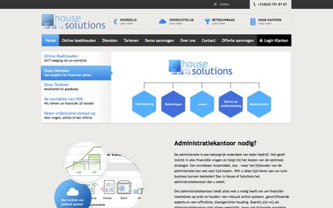 Screenshot of Home Page houseofsolutions.nl - Administratiekantoor | House of Solutions - captured Oct. 3, 2014