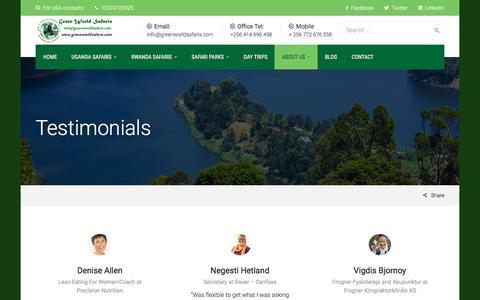 Screenshot of Testimonials Page greenworldsafaris.com - Testimonials | Uganda Safaris - captured July 24, 2018