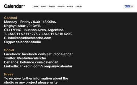 Screenshot of Contact Page estudiocalendar.com - Contact — Calendar - captured Oct. 1, 2014