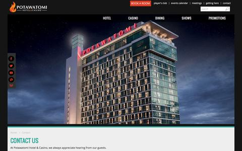 Screenshot of Contact Page paysbig.com - Contact Us - Potawatomi Hotel & Casino - Milwaukee, Wisconsin - captured Jan. 14, 2016