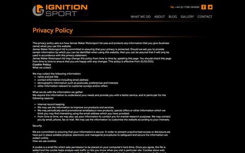 Screenshot of Privacy Page ignitionsport.com - Ignition Sport - captured Sept. 30, 2014