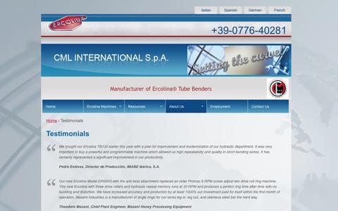Screenshot of Testimonials Page ercolina.com - Testimonials | CML International S.p.A. - captured Oct. 1, 2014