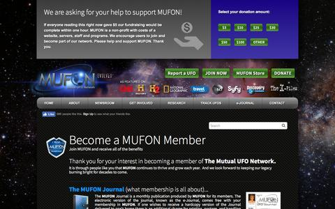 Screenshot of Signup Page mufon.com - Become a MUFON Member - Mufon - captured July 21, 2016