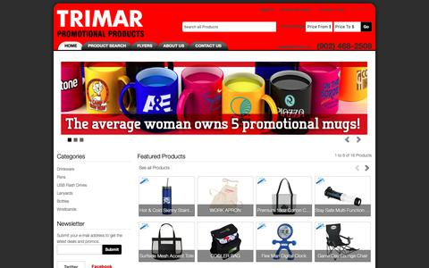 Screenshot of Home Page trimar.ca - Dartmouth and Halifax, Nova Scotia - Trimar Promotional Products - captured Oct. 20, 2018