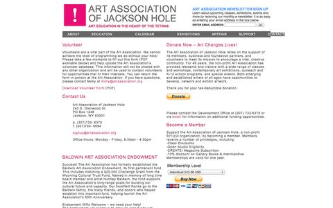 Screenshot of Support Page artassociation.org - Art Association of Jackson Hole : Support - captured Oct. 4, 2014