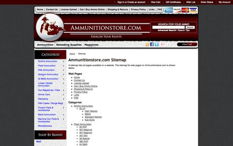Screenshot of Site Map Page ammunitionstore.com - Ammunitionstore.com Sitemap - captured Sept. 25, 2014