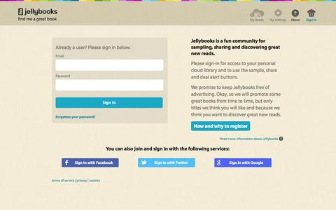 Screenshot of Login Page jellybooks.com - Jellybooks - register or login for full cloud access - Login or signup - captured Sept. 24, 2014