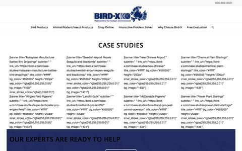 Screenshot of Case Studies Page bird-x.com - Case Studies   Bird Control and Deterrents - captured April 1, 2018