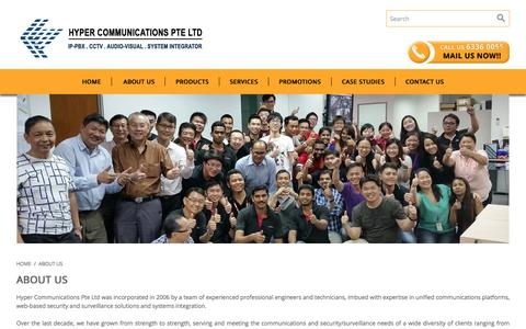 Screenshot of About Page hypercom.sg - About Us - captured Feb. 2, 2016