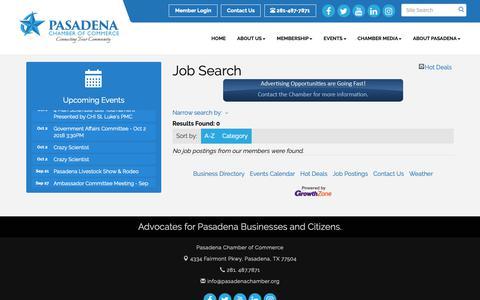 Screenshot of Jobs Page pasadenachamber.org - Job Search - Pasadena Chamber of Commerce , TX - captured Sept. 27, 2018
