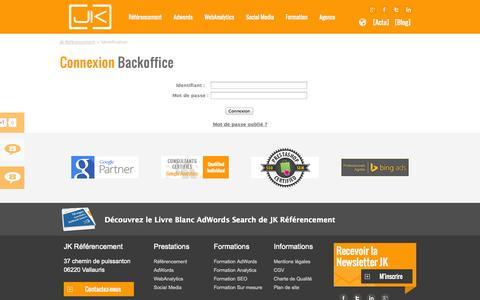 Screenshot of Login Page jk-referencement.com captured Sept. 22, 2014