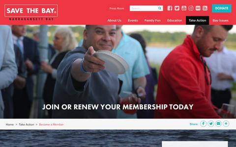 Screenshot of Signup Page savebay.org - Become a Member | Save The Bay - captured Nov. 12, 2018