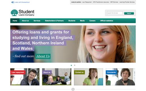 Screenshot of Home Page slc.co.uk - Student Loans Company - Student Loans Company - captured Sept. 19, 2014