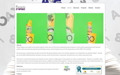 Screenshot of About Page grantsempire.com.au - About - Grants Empire - captured Dec. 13, 2015