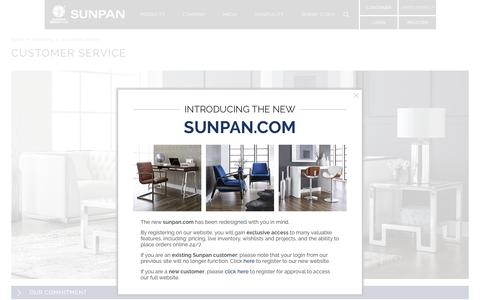 Screenshot of Support Page sunpan.com - Customer Service - Company - captured July 21, 2016