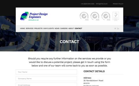 Screenshot of Contact Page pde.co.uk - Contact | Project Design Engineers - captured Nov. 14, 2016