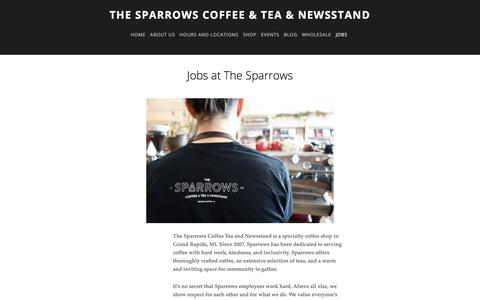 Screenshot of Jobs Page thesparrowsgr.com - Jobs —  The Sparrows Coffee & Tea & Newsstand - captured Jan. 10, 2018