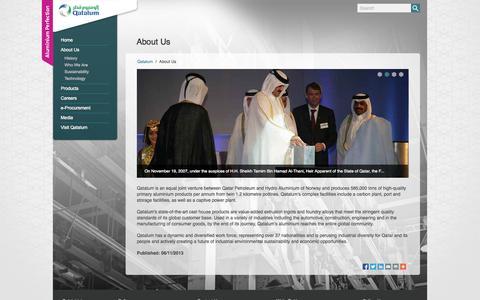 Screenshot of About Page qatalum.com captured Oct. 2, 2014