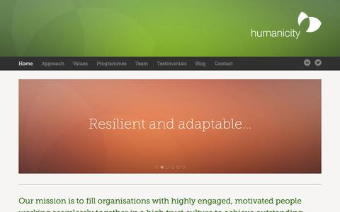 Screenshot of Home Page humanicity.co.uk - Humanicity - captured Oct. 3, 2014