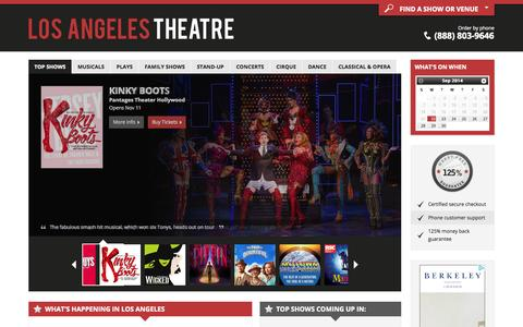 Screenshot of Home Page los-angeles-theatre.com - Los Angeles Theater: Broadway shows, Musicals, Plays, Concerts and Theaters in Los Angeles, CA for 2014/15 - captured Sept. 23, 2014