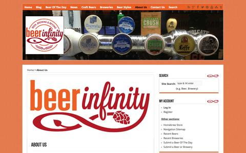 Screenshot of About Page beerinfinity.com - About Us   Beer Infinity - captured Nov. 4, 2014