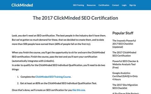 Screenshot of clickminded.com - The Definitive 2017 ClickMinded SEO Certification - captured July 25, 2017