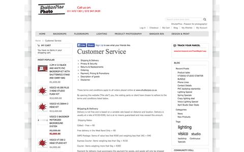 Screenshot of Support Page shutterpics.co.za - Customer Service - captured Oct. 26, 2014
