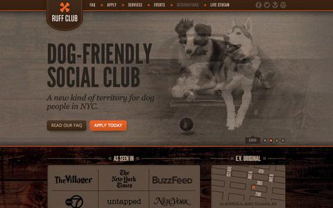Screenshot of Home Page ruffclub.com - Ruff Club - East Village Dog-Friendly Social Club - captured Oct. 7, 2014