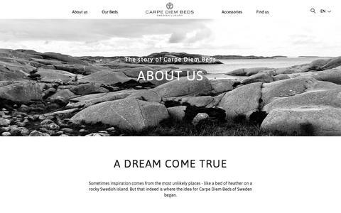 Screenshot of About Page carpediembeds.com - About us | Carpe Diem Beds - captured Sept. 27, 2018