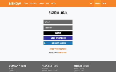 Screenshot of Login Page bisnow.com - Login - captured Aug. 20, 2019