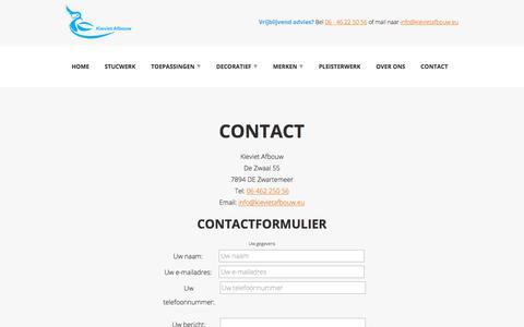 Screenshot of Contact Page kievietafbouw.eu - Contact - captured Sept. 20, 2018