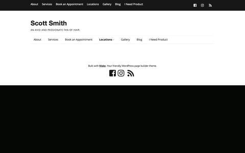 Screenshot of Locations Page beautybysmith.com - Locations – Scott Smith - captured Nov. 11, 2018