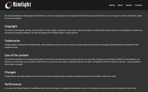 Screenshot of Terms Page rimlightstudios.com - Rimlight Studios |   Terms of use - captured Oct. 9, 2014