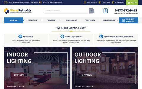 Screenshot of Home Page shineretrofits.com - ShineRetrofits.com | Your Energy Efficient Lighting Retrofit Supplier - captured June 29, 2019