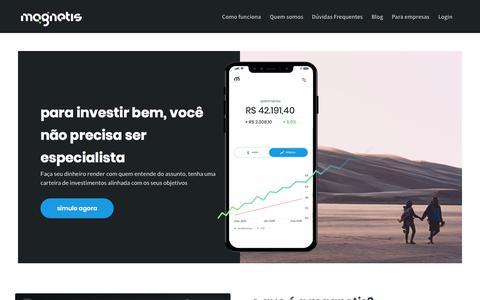 Screenshot of Home Page magnetis.com.br - Magnetis - Invista no que importa - captured July 7, 2019