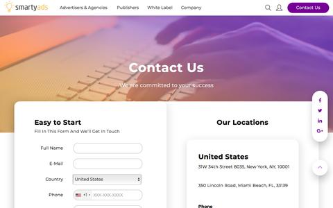 Screenshot of Login Page smartyads.com - Contact Us — SmartyAds - captured Feb. 25, 2018