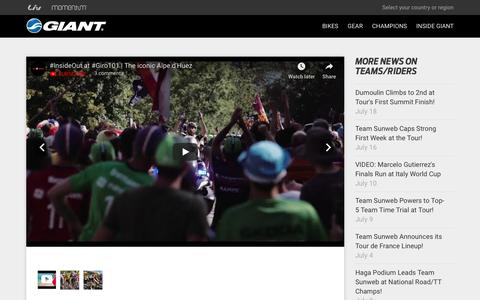 Screenshot of Press Page giant-bicycles.com - Dumoulin Again Magnificent in the Alps, 2nd at Alpe d'huez! - Giant Bicycles   Official site - captured July 20, 2018