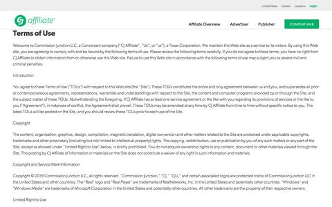 Screenshot of Terms Page cj.com - CJU Terms | CJ Affiliate by Conversant (formerly Commission Junction) - captured May 15, 2018
