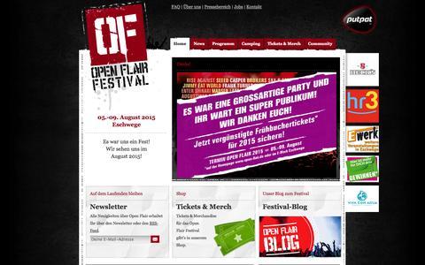 Screenshot of Home Page open-flair.de - Open Flair Festival Eschwege: Homepage 2014 - captured Sept. 19, 2014