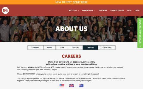 Screenshot of Jobs Page netprofitexplosion.com - About Us | Net Profit Explosion - captured Aug. 19, 2016