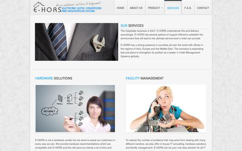 Screenshot of Services Page ehors.com - E-Hors   Electronic Hotel Operations & Reservation System - Services - captured Oct. 1, 2014