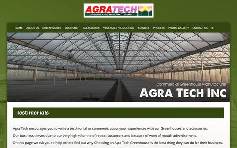 Screenshot of Testimonials Page agratech.com - Commercial Greenhouse Manufacturer | Metal Structure | Vegetable - captured Jan. 24, 2017