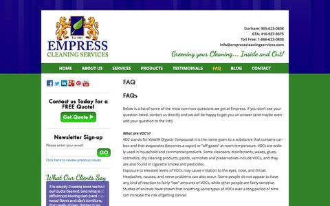 Screenshot of FAQ Page empresscleaningservices.com - Residential, Commercial and Eco Friendly Full Service Cleaning Company | Empress Cleaning Services - FAQ - captured Oct. 2, 2014