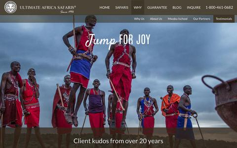 Screenshot of Testimonials Page ultimateafrica.com - Client kudos from over 20 years | Ultimate Africa Safaris - captured Oct. 2, 2018
