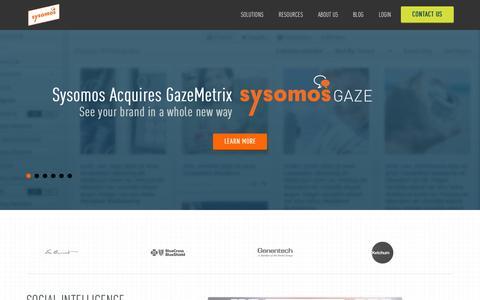 Screenshot of Home Page sysomos.com - Sysomos: Social Media Monitoring Tools - captured Oct. 19, 2015