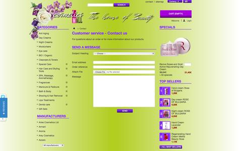Screenshot of Contact Page cosmeticsmall.eu - Contact us - Cosmetics MALL Europe - captured Oct. 3, 2014