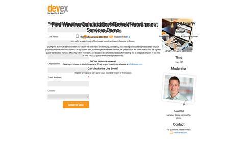 Screenshot of Landing Page devex.com - Find Winning Candidates: A Devex Recruitment Services Demo - captured June 30, 2016