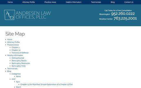 Screenshot of Site Map Page andresenlaw.com - Site Map | Bloomington Bankruptcy Attorney - captured April 25, 2017