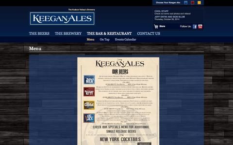 Screenshot of Menu Page keeganales.com - Keegan AlesMenu - Keegan Ales - captured Oct. 6, 2014